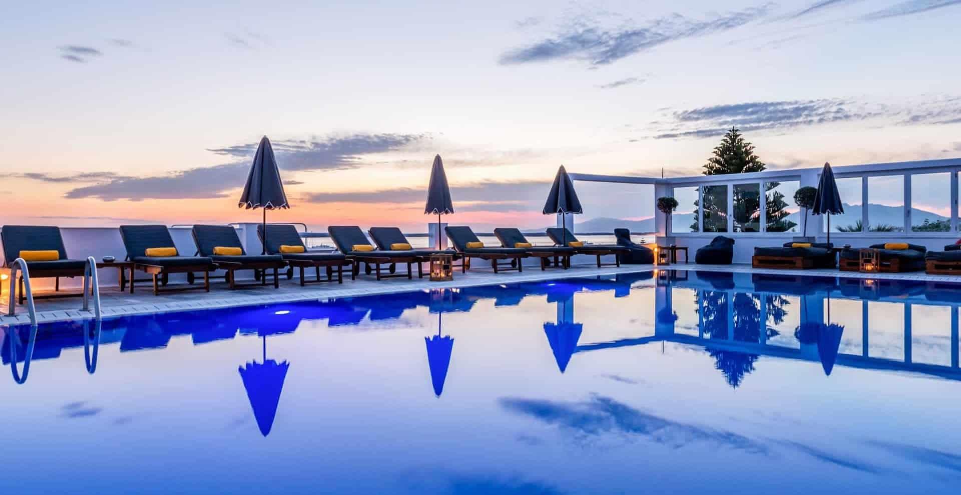 Rochari Hotel's Swimming Pool at sunset hour